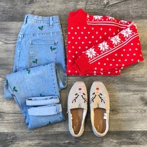 Vintage Red Snowflake Christmas Sweater